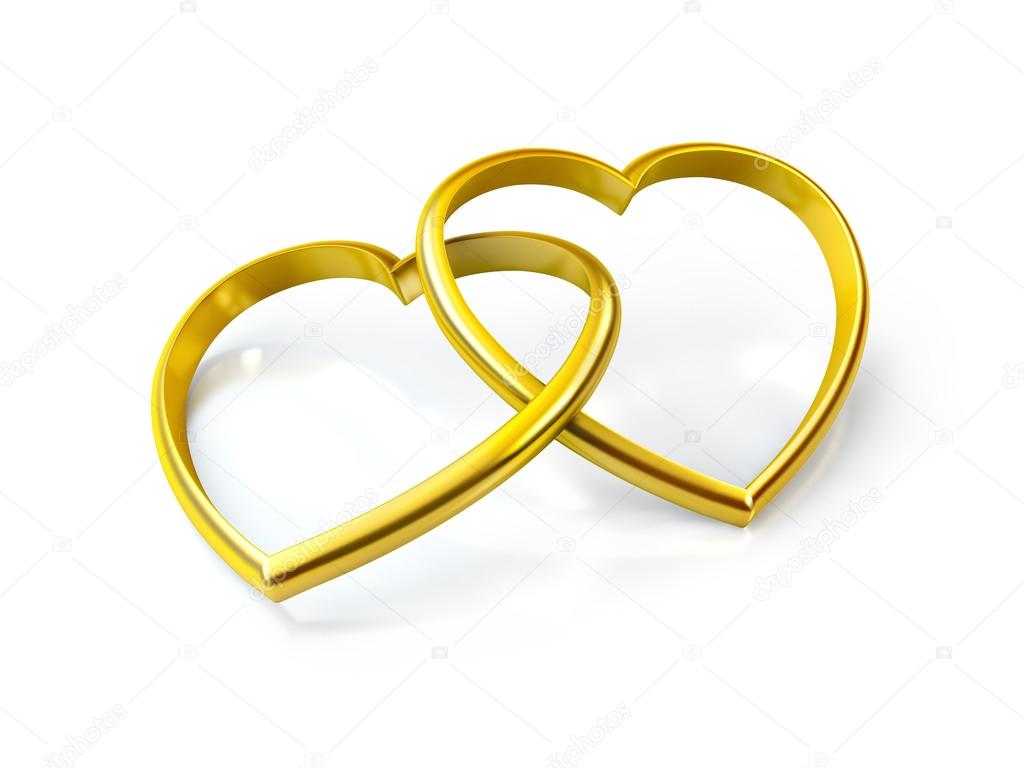 3D heart shaped golden rings on white background  Stock Photo #17371393