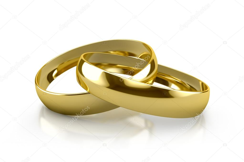 Couple of gold wedding rings on white background — Stock Photo #18206681