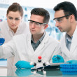 Scientists experimentation in research laboratory - Stock Photo