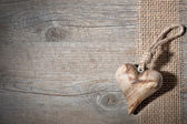 Carved wooden heart — Stock Photo