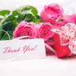 Stock Photo: Roses and gift box with a card