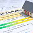 Foto Stock: House with energy saving certificate