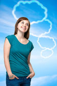 Teenager girl with blank thought bubbles — Stock Photo