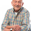 Senior man smiling isolated on white - Stok fotoğraf