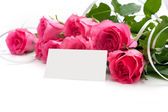 Flowers with a blank tag — Stock Photo