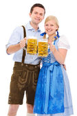 Couple with beer — Stock Photo