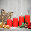 Four advent candles burning — Stock Photo