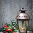 Christmas lantern in the snow — Stock fotografie