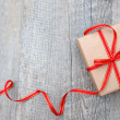 Gift box with red bow — Foto Stock