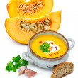 Pumpkin soup with fresh pumpkins — Stock Photo