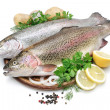 Rainbow trout with fresh herbs — Stock Photo