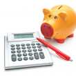 Piggy bank with calculator — Stock Photo