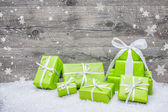 Gift boxes with bow and snowflakes — Stock fotografie