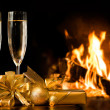 Two glasses in front of fireplace — Lizenzfreies Foto
