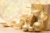 Gold Christmas gift boxes — Stock Photo