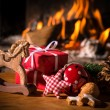 Christmas scene with tree gifts — Stok fotoğraf