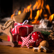 Foto Stock: Christmas scene with tree gifts