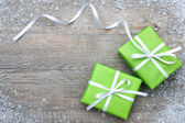 Gift boxes with bow and snowflakes — Foto de Stock
