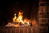 Fire in fireplace — Stockfoto