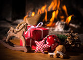 Christmas scene with tree gifts — Stock Photo