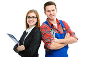 Apprentices for handyman and office — Stock Photo