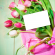 Bouquet of  tulips and card — Stock Photo #41867943