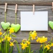 Message and hearts on the clothesline — Stock Photo #43318915