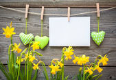 Message and hearts on the clothesline — Stock Photo