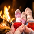 Mulled wine at romantic fireplace — Stock Photo #49213857