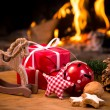 Christmas scene with tree gifts — Stockfoto