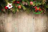 Decoração de natal mais antigo fundo de madeira — Foto Stock
