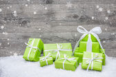 Gift boxes with bow and snowflakes — Stok fotoğraf