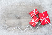 Gift boxes on wooden background — Stockfoto