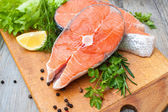 Salmon fish steaks — Stock Photo