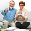 Happy senior couple holding a small house — Stock Photo