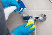 Schoonmaken van de badkamer — Stockfoto