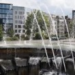 Stock Video: Fountain and modern buildings on city ring, Stuttgart