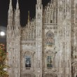 Stock Photo: Minster illuminated windows and Xmas tree, Milan