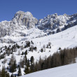 Stock Photo: Ski runs and Rosengarten, Costalungpass