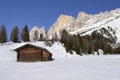 Wooden hut and Rosengarten, Costalunga pass — Stock Photo