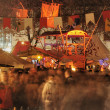 Night crowd at medieval market, esslingen - Stock Photo