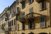 Old houses in Garibaldi street, Milan — Stock Photo