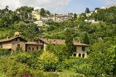 Houses on green hill and Borgo Canale neighbourhood, Bergamo  — Stock Photo