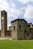 St. Peter church baptistery and bell-tower, Agliate — Stock Photo
