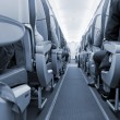 Rows of seats on airplane - Stock Photo