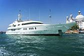 Large white motor yacht — Stock Photo