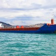 Blue containers ship — Stock Photo