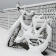 Bicycle and snow — Stock Photo