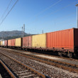 Containers in railway station — Stock Photo