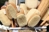 Wooden SPA brush and accessories — Stock Photo
